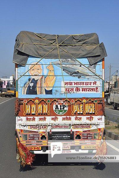 India  Uttar Pradesh  Agra-Delhi highway  Truck praising prime minister Narendra Modi.Pix shows Narendra Modi and the Rafale jet fighters bought by his government.