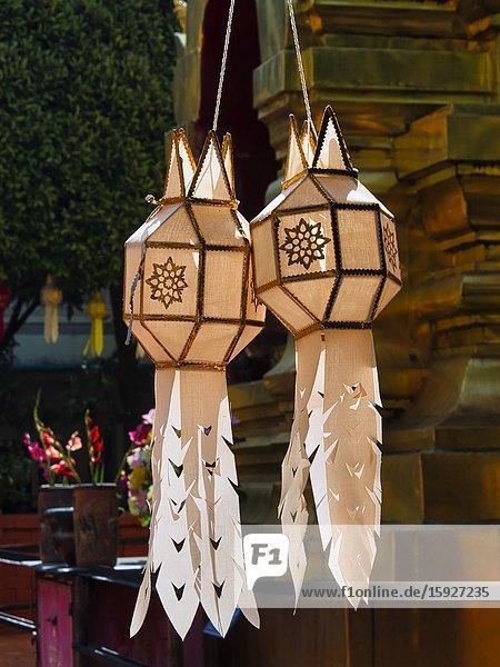 Paper lanterns at Wat Phan On  Chiang Mai  Thailand.