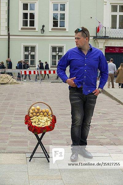 Oscypki smoked goat cheese for sale Krakow Poland Europe EU Slovak Tatra Mountains.