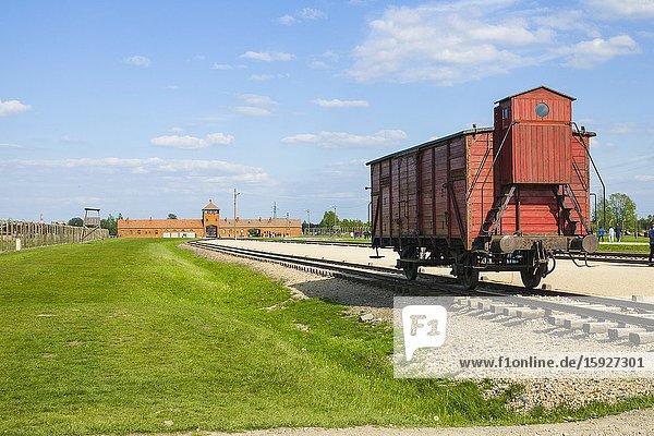 Boxcar Train Tracks Auschwitz Birkenau Concentration Camp OŠ›wiÄ. cim Museum Southern Poland Europe EU UNESCO.