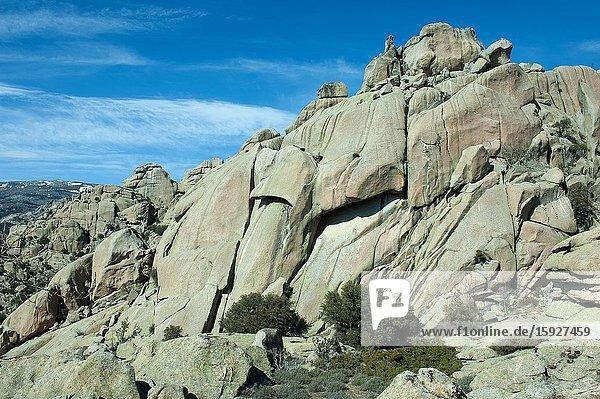 La Pedriza del Manzanares is a natural site in the Sierra de Guadarrama National Park. Manzanares el Real town  Madrid province  Spain
