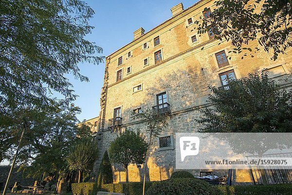 Oropesa in Toledo province on October 26  2019: The state run hotel at Oropesa palace.