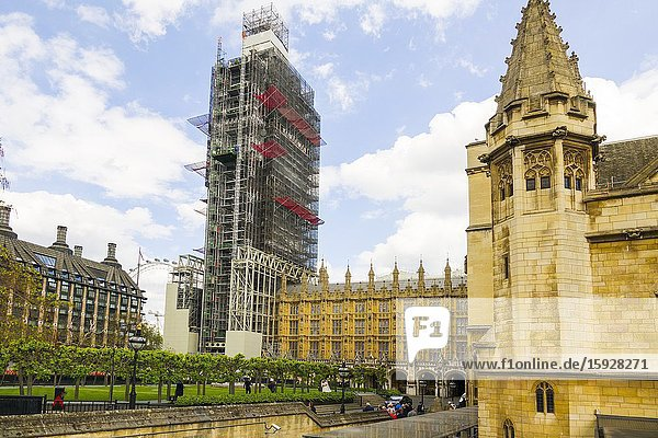 Big Ben Renovation with scaffolding London England United Kingdom Capital River Thames UK Europe EU.
