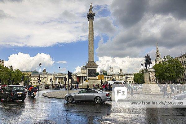 Trafalgar Square London England United Kingdom Capital River Thames UK Europe EU.