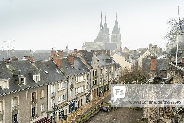 Blois France on December 2019: Old medieval houses with St Nicholas church from castle viewpoint in Loire Valley.