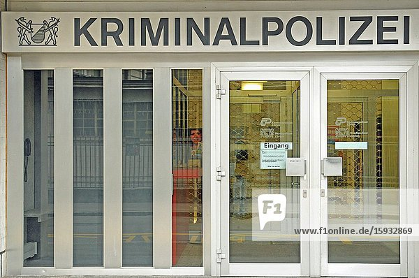 Zürich/Switzerland: The entrance of the criminal police station. In times of Corona CoVid19 Virus there are more suicides and crimes.