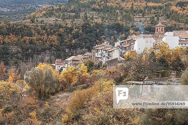 Autumn landscape in Vallivana village Castellon Spain.