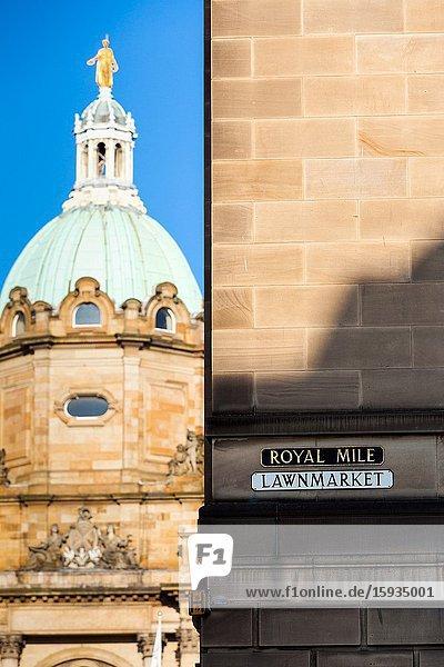Royal mile sign edinburgh scotland uk.