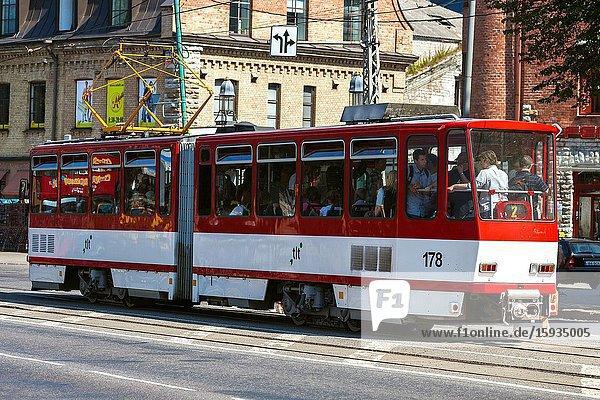 Busy city trams at intersection. Tallinn Estonia.
