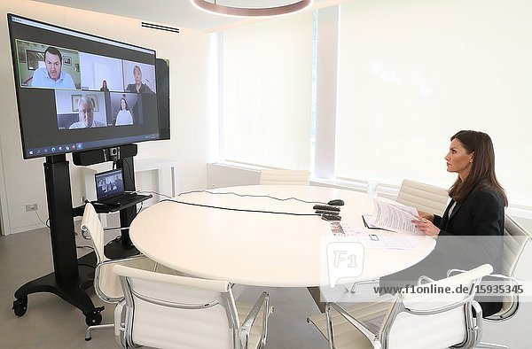 Queen Letizia of Spain attends a videoconference with State Representative Platform of People with Physical Disabilities (PREDIF) and National Federation (ASPAYM) at Zarzuela Palace on May 4  2020 in Madrid  Spain