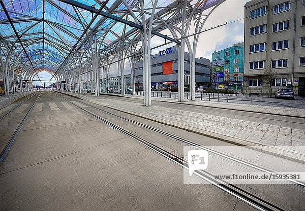 Europe  Poland  Lodz  March 2020  empty streets of city center during the coronavirus pandemic  Tram interchange center - Centrum  crossroads of Mickiewicza Avenue and Piotrkowska street.