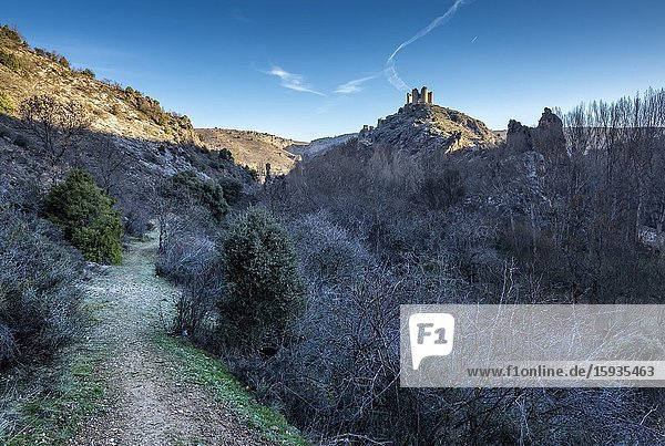 Pathway at the River Sweet Ravine and ruins of the medieval castle of Pelegrina. Guadalajara. Spain. Europe.
