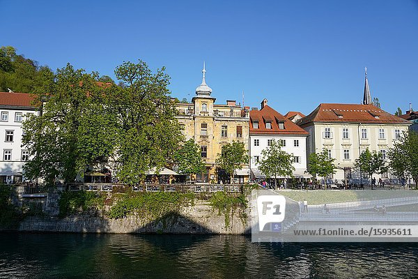 Ljubljanica River  downtown Ljubljana  the capital and largest city of Slovenia  Europe