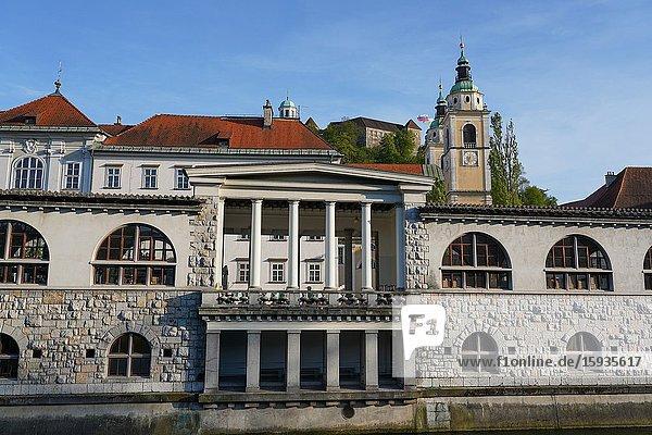 The Ljubljana Central Market and Ljubljanica River  Ljubljana  the capital and largest city of Slovenia  Europe