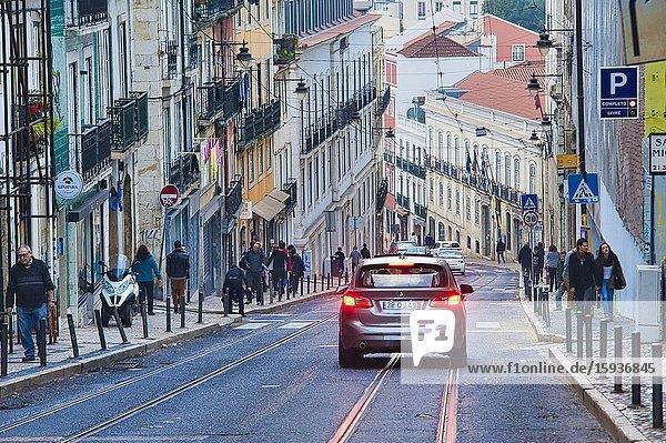 View down Calcada do Combro  Bairro Alto neighbourhood  Lisbon  Portugal.