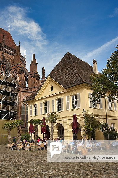 Outdoor tables at Old Wine House Restaurant  Freiburg  Baden-Wurttemberg  Germany.