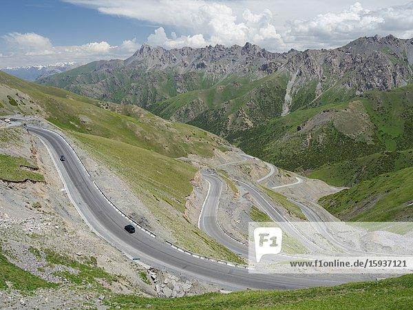 Taldyk mountain pass. Landscape along the Pamir Highway. The mountain range Tian Shan or Heavenly Mountains. Asia  Central Asia  Kyrgyzstan.
