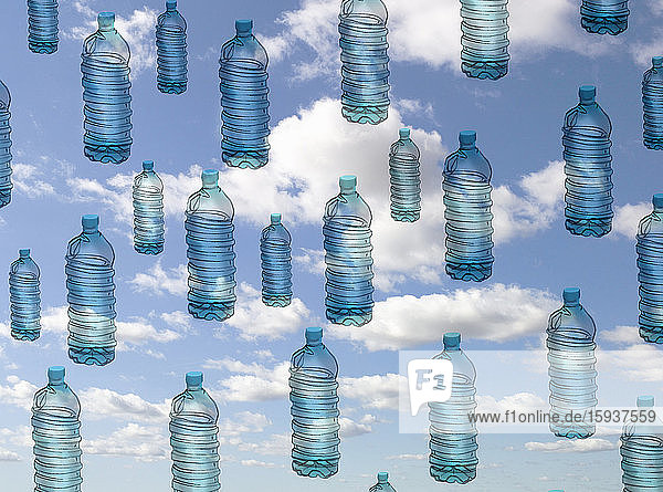 Lots of plastic bottles floating in the sky