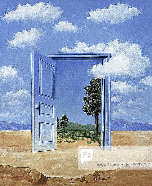 Green landscape through open door in desert