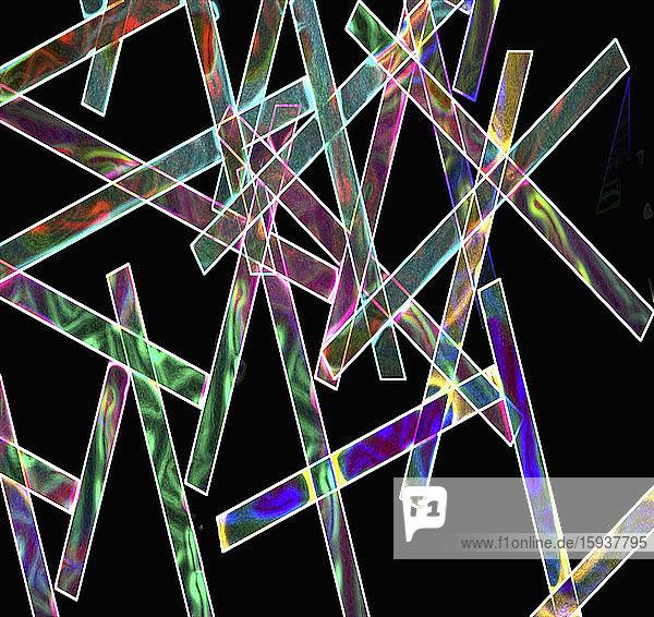 Criss crossing multi coloured strips