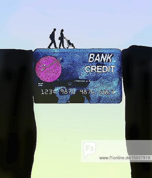 Family using credit card to bridge the gap