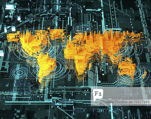 Fragmented three dimensional world map over high tech circuit board