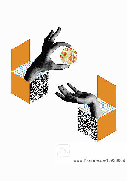 Hands from boxes exchanging globe