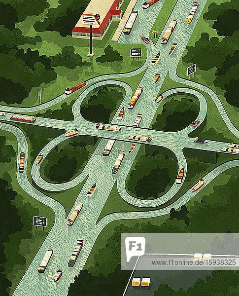 Kanal-Schifffahrt als Autobahnnetz