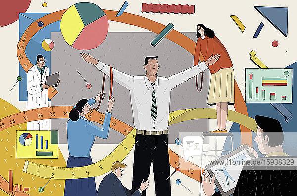 People measuring businessman