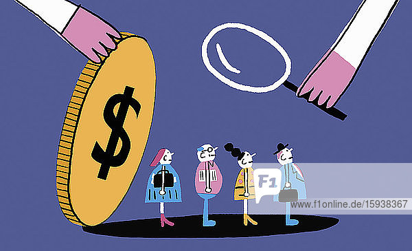 Magnifying glass examining people under dollar coin