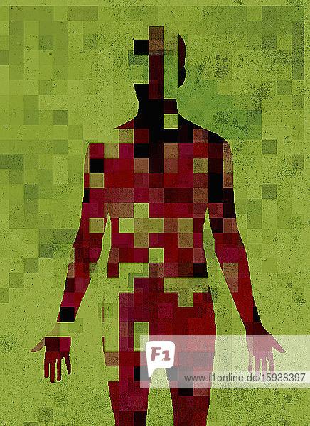 Pixellated man's body