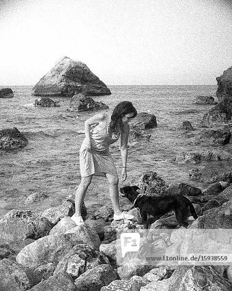Woman with Dog on Rocky Coast  3D Stereo Effect