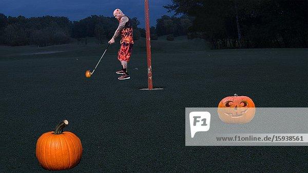 Devil Playing Golf with Jack-o-Lanterns