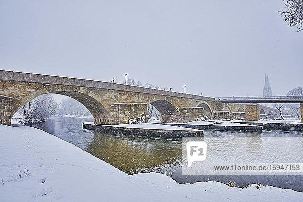 Stone bridge and Danube  Regensburg  Bavaria  Germany  Europe