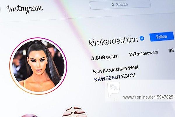 Offizielle Instagram Seite von Kim Kardashian  Influenzer  @kimkardashian  Bildschirmfoto  Detail