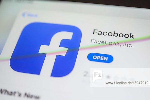 Facebook App  Soziales Netzwerk  App-Icon  Bildschirmfoto  Smartphone  Detail  formatfüllend