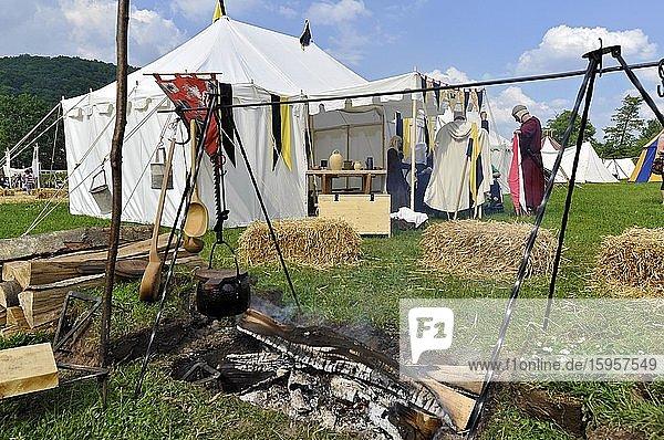 Medieval tent camp  historical city festival  Gelnhausen  Main-Kinzig-Kreis  Hesse  Germany  Europe