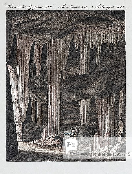 Stalactite cave near Slains  Scotland  hand-coloured copperplate engraving from Friedrich Justin Bertuch Picture book for children  1798  Weimar  Germany  Europe