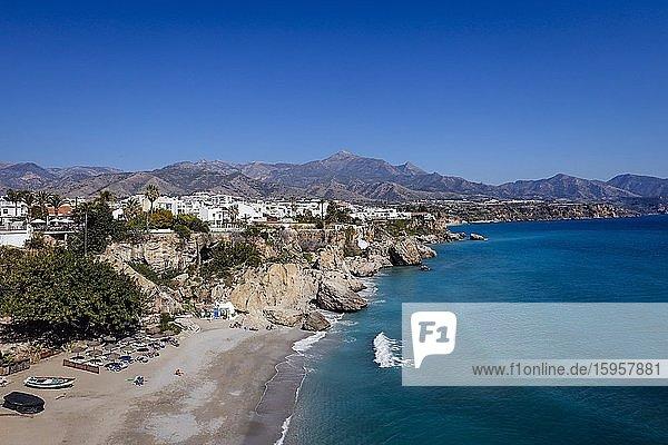 Playa de Calahonda at the Balcon de Europa in the resort of Nerja  province of Malaga  Costa del Sol  Andalusia  Spain  Europe