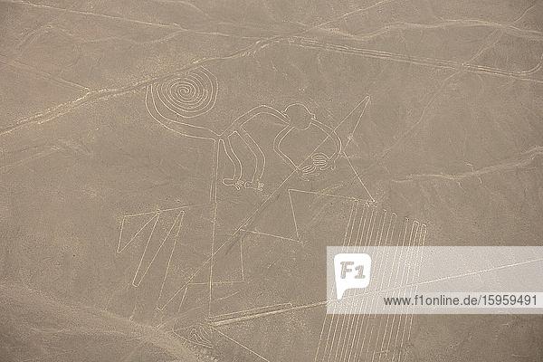 Luftaufnahme der Nasca-Linien  in den Wüstensand geätzte präkolumbianische Geoglyphen  Nasca  Südperu.