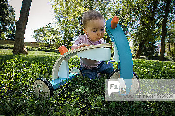 Portrait of baby girl playing with tricycle on a lawn in a park.