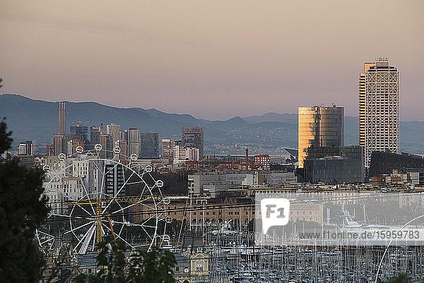 Cityscape of Barcelona at sunset  Catalonia  Spain.