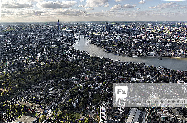 Aerial view of London city and Tower Bridge over the River Thames
