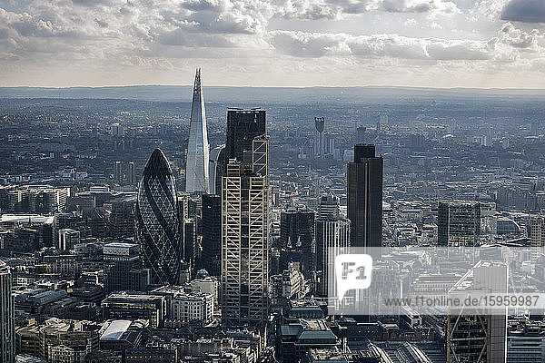 Aerial view of City of London. Financial District  London  England  UK