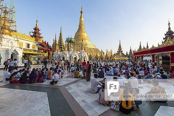 Pilger in der Shwedagon-Pagode  Rangoon (Rangoon)  Myanmar (Burma)  Asien