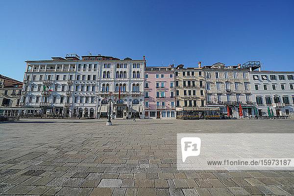 Riva degli Schiavoni während der Sperrung des Coronavirus  Venedig  UNESCO-Weltkulturerbe  Venetien  Italien  Europa