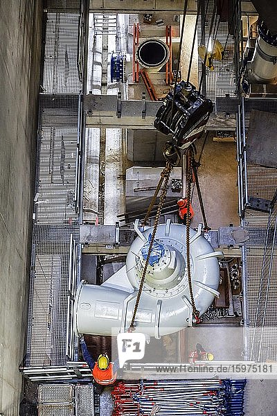 Installation of wastewater pumps in the new pumping station Oberhausen  new construction of the Emscher sewer  Emscher conversion  Oberhausen  Ruhr area  North Rhine-Westphalia  Germany  Europe