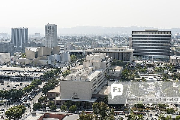 View from Los Angeles City Hall of the Walt Disney Concert Hall (left)  Los Angeles County Superior Court (center) and the House of the Department of Water and Power (right)  Downtown Los Angeles  Los Angeles  California  USA  North America
