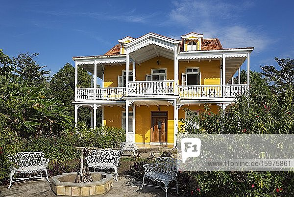 Well preserved colonial building that offers rooms for rent  Cienfuegos  Cuba  Central America