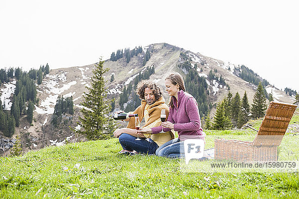 Mid adult couple enjoying drink during picnic against mountain